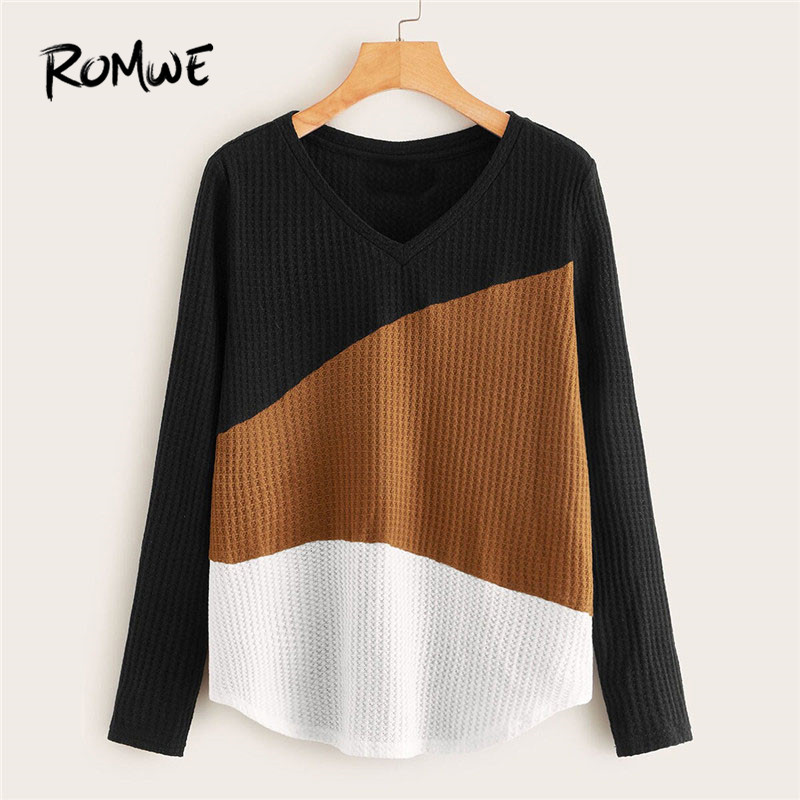 ROMWE V Neck Curved Hem Cut-And-Sew Textured T Shirt Women Clothes 2019 Fall Long Sleeve Tops Casual Autumn Ladies Tops