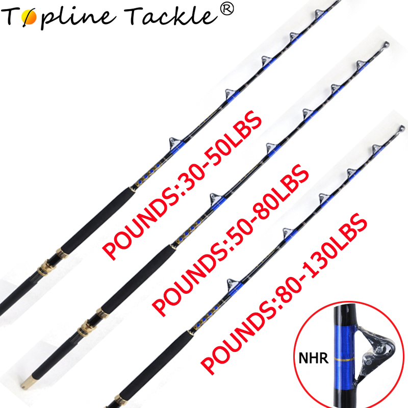 30-50 50-80 80-130lbs Saltwater Offshore Heavy Trolling Rod Big Game Roller Rod Conventional Boat Fishing Pole With Roller Guide