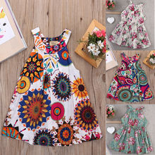 Hot Fashion Toddler Summer Dresses Cute Baby Girls Party Tutu Clothes Kids Princess Floral Dress недорого