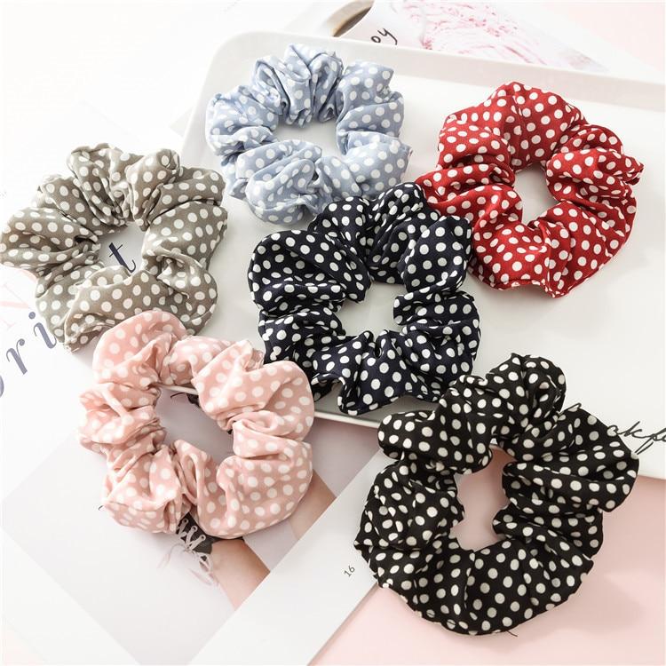 New Korean Modal Polka Dot Hair Bands For Women Rubber Band Chiffon Cloth Hair Accessories