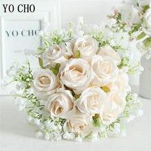 Yo cho buquê de flores de casamento da noiva buquê de seda artificial rosa falso babys respiração rosa dama de honra segurar suprimentos de casamento de flor