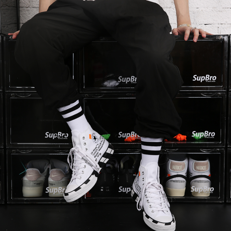Freeshipping Adult Man Crew Socks Simple Black White Two Lines Stripes Wires SportStreet Fashion Hip Hop Hiphop Skateboard 2020