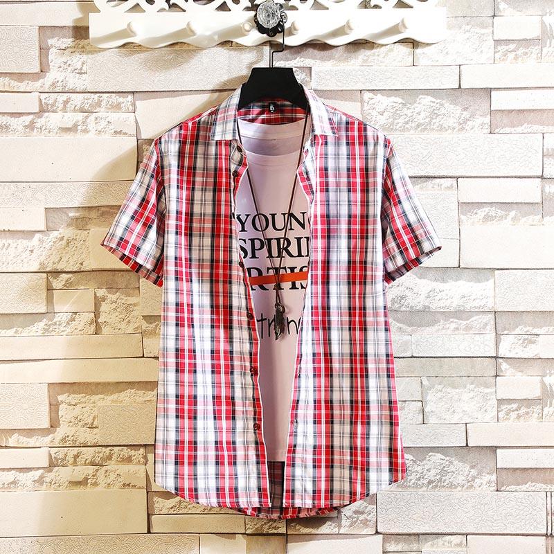 Men's Standard-Fit Short-Sleeve Checked Plaid Shirt Patch Chest Pocket Thin Soft Cotton Collar Striped Dress Shirt Shirt Male Ca