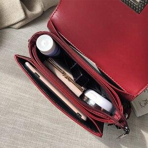 Image 4 - السيدات حقيبة يد برشام صندوق مربع صغير حقائب كروسبودي للنساء الأسود حقيبة كتف الماس الأحمر شعرية حقائب أنيقة 2019 فام