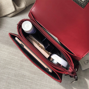 Image 4 - Ladies Handbag Rivet Small Square Bag Crossbody Bags For Women Black Shoulder Bag Red Diamond Lattice Fashion Bags 2019 Femme