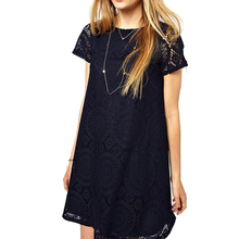 2019 New Fashion Summer Dress Plus Size Clothing Women'S Casual Loose Short-Sleeve Lace Hollow Out Dress Plus Size Dresses plus size short sleeve lace shift dress