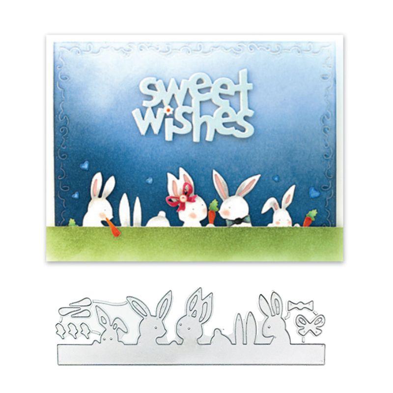 DIY Cute Rabbit Cutting Dies Stencil Scrapbooking Album Stamp Paper Card Crafts