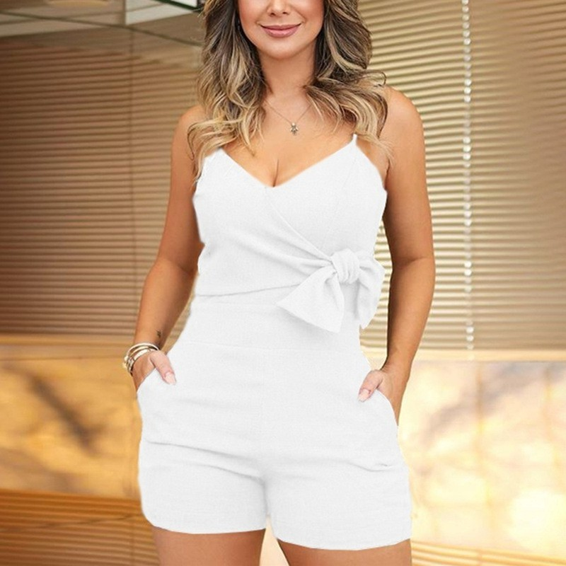 DSexy Sleeveless Low Cut <font><b>Bow</b></font> <font><b>Tie</b></font> Women <font><b>Bodysuit</b></font> <font><b>2019</b></font> Summer <font><b>Sexy</b></font> Solid Color V-neck Sleeveless Spaghetti Strap Backless Playsuit image