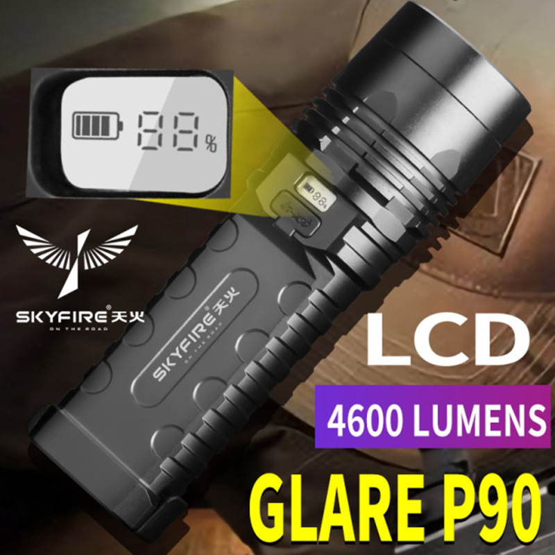 COB work light P90 glare LED flashlight rechargeable super bright long-range outdoor tactical glare high power xenon lamp 16850