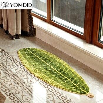 Alfombra de baño de TPE con diseño de hojas verdes, felpudo antideslizante...