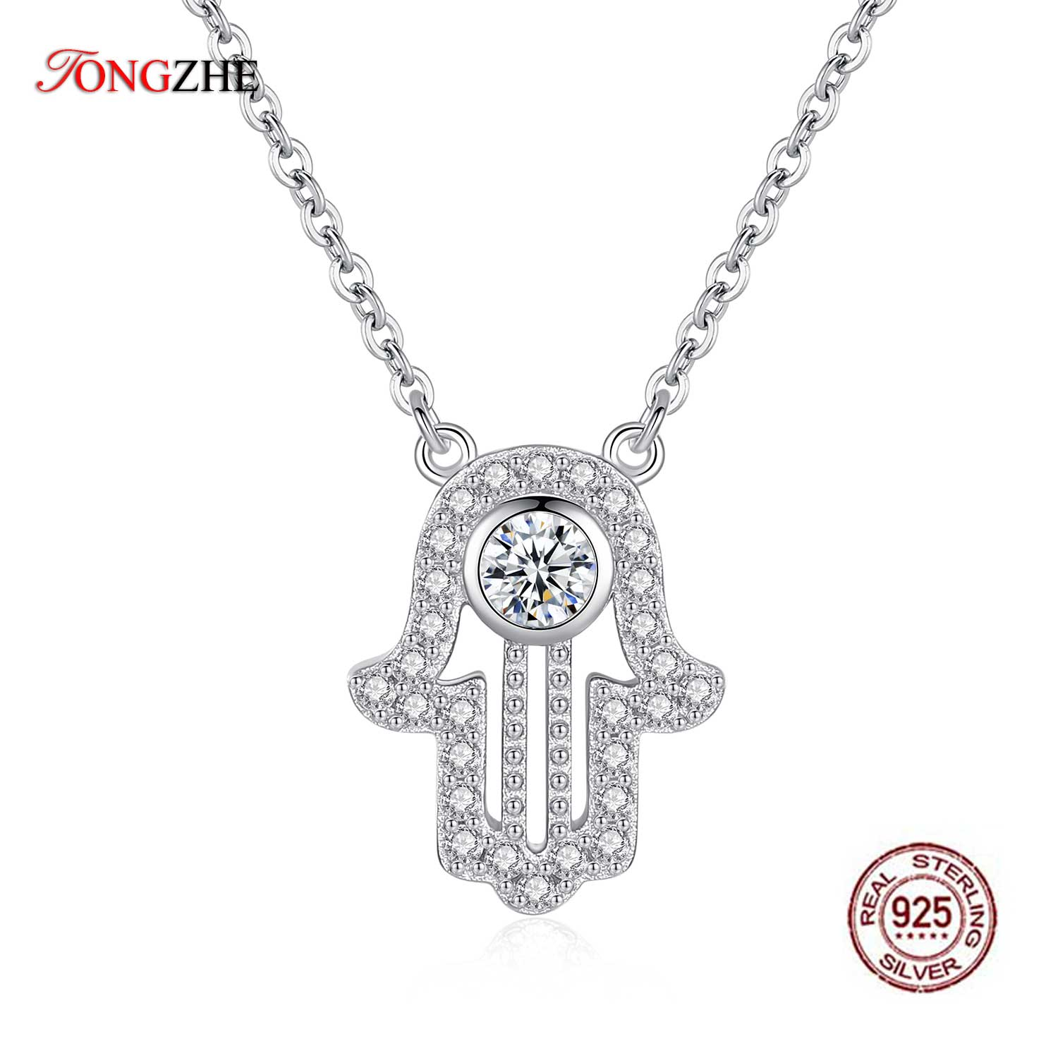 TONGZHE 925 sterling Silver Hand Hamsa Necklace Women Lucky Fatima Link Chain Long Initial Necklace Turkey Jewelry 2019 Choker-in Pendant Necklaces from Jewelry & Accessories