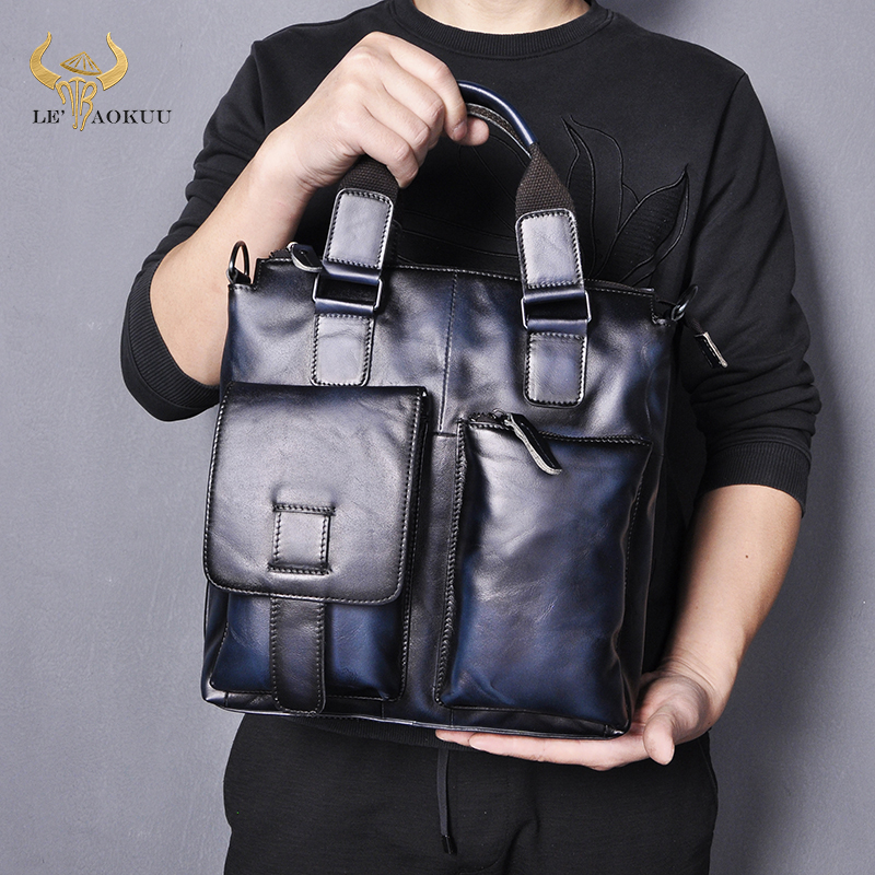 Men Quality Leather Casual Blue Maletas Business Briefcase 12