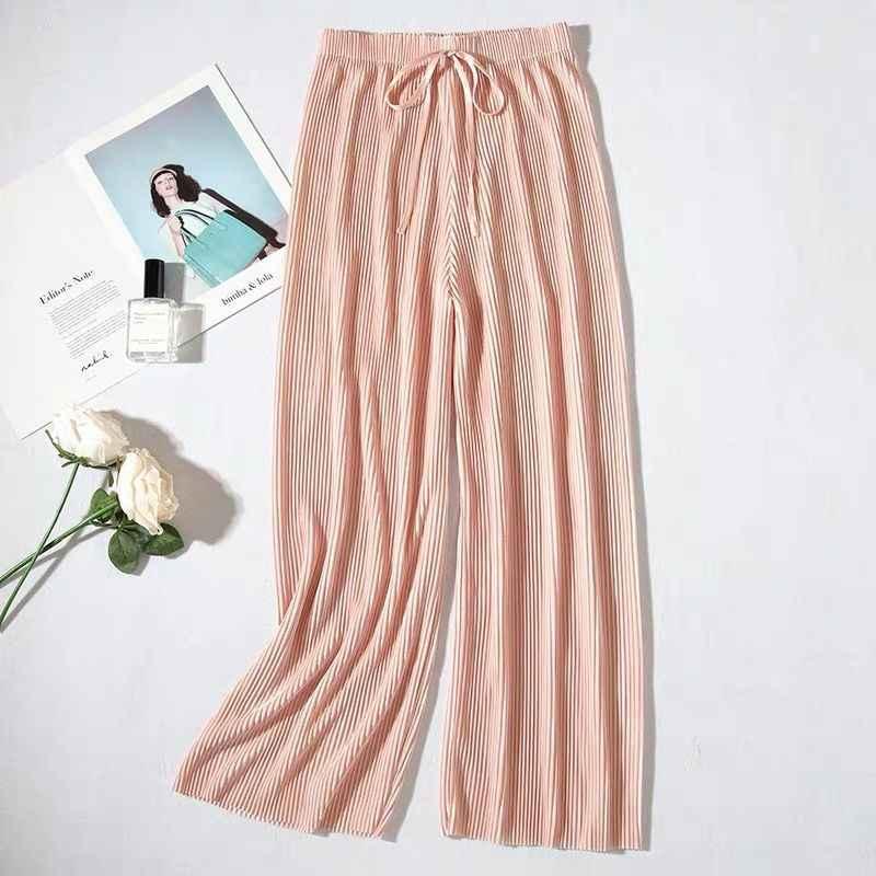 여성을위한 여름 넓은 다리 바지 캐주얼 탄성 높은 허리 2020 새로운 패션 느슨한 긴 바지 Pleated 바지 바지