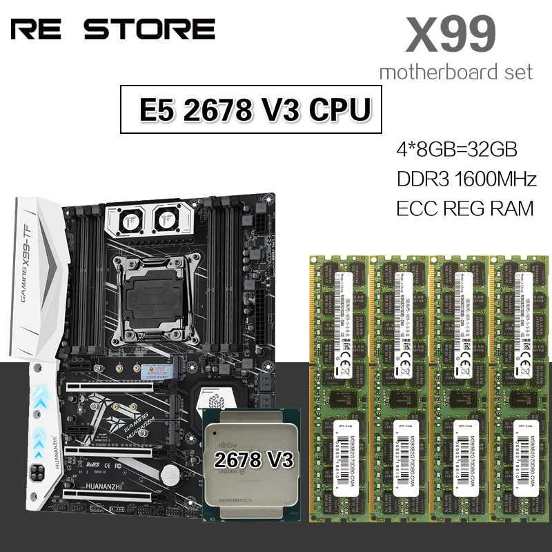 HUANANZHI X99 Placa base con Xeon E5 2678 V3 4 Uds 8GB = 32GB 1600MHz DDR3 ECC REG de memoria
