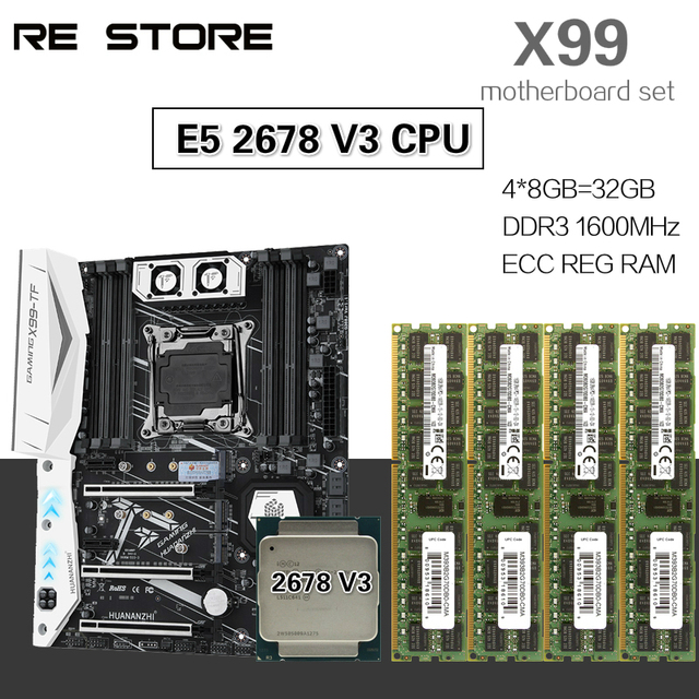 HUANANZHI X99 motherboard set with Xeon E5 2678 V3 4pcs 8GB=32GB 1600MHz DDR3 ECC REG memory