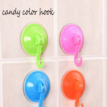 Candy Color Removable Wall Suction Hook Strong Adhesive Towel Brush Soap Vacuum Sucker Hooks Bathroom Door Kitchen Hanging Rack image