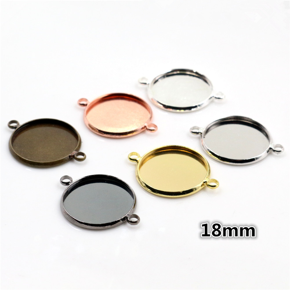 18mm 10pcs Brass Material 6 Colors Plated Double Hanging Style Cameo Setting Base Cabochon Setting Connector High Quality