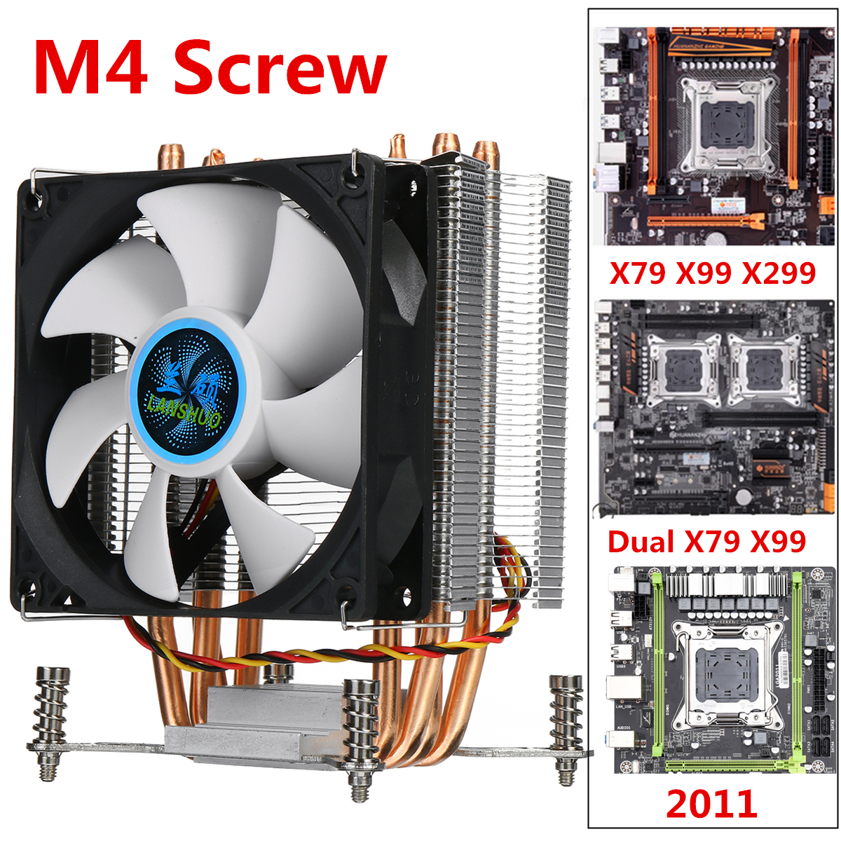 4 Copper Heatpipe CPU Cooler Cooling Fan 90mm 3Pin CPU Cooler Fan Cooling Heatsink Radiator For Intel LGA 2011 X79 X99 299