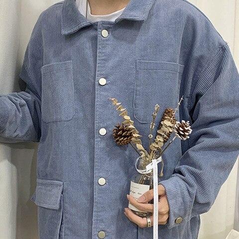 Autumn Corduroy Jacket Men Fashion Retro Solid Color Casual Cotton Jacket Man Streetwear Hip Hop Loose Coat Large Size M-5XL Multan
