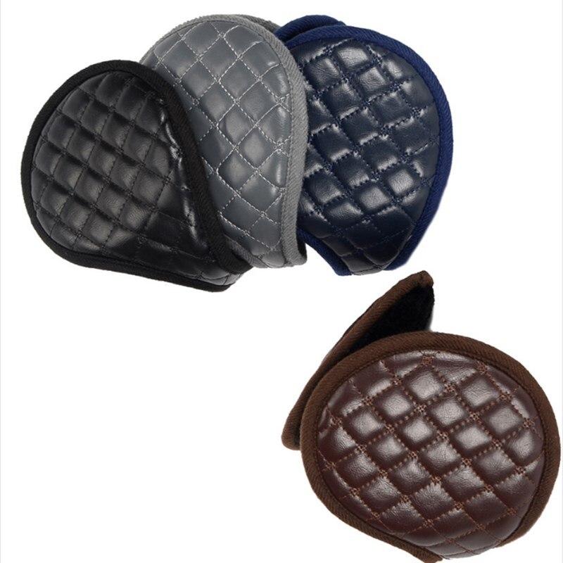 2020 Ear Muffs Winter Fleece Ear Warmers Behind Head Leather Padded Earwarmer Men Women Warm Earmuffs Earflap