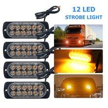 4PCS 12V 24V 12 LED Super Bright Emergency Warning Caution Waterproof Amber Strobe Light Bar Flashing for Auto Car Truck SUV Van