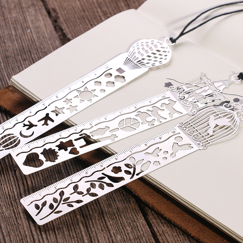 Cute Kawaii Creative Metal Bookmark with Ruler for Books Stationery For Kids Student Gif