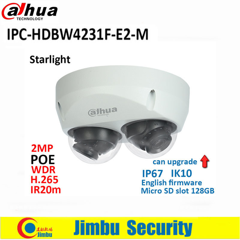 Dahua IP Camera  2x 2MP starlight IPC-HDBW4231F-E2-M  POE H.265&H.264 IR20m IK10 IP67 Micro SD memory 128G Smart Detection