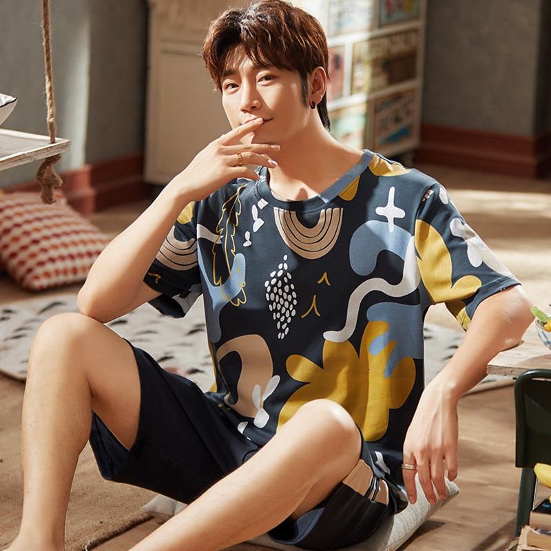 Cotton Men Pajamas Sets Printing Leisure Nightgown Cozy Homewear Short Sleeve Round Neck Tops Shorts Sleepwear Sets