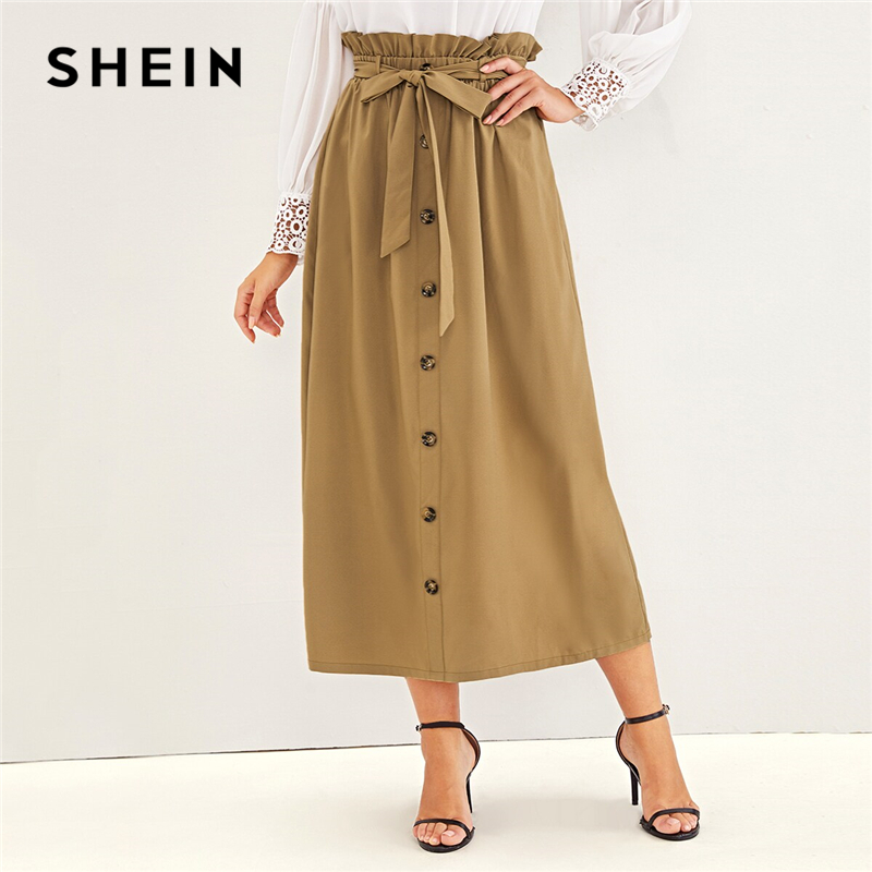 SHEIN Abaya Camel Paperbag Waist Single Breasted Belted Skirts Womens Summer Autumn High Waist Solid Flared A Line Long Skirt