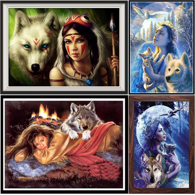 New 2020 DIY 5D Full Diamond Painting Cross Stitch Painting White Wolf Diamond Embroidery Needlework Patterns Rhinestone kits