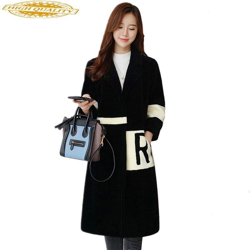 Womens Natural Wool Fur Coat Female 2020 Fashion Winter Jacket Women Real Sheep Shearing Fur Coats Long Overcoat 1709