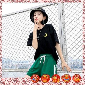 Casual Shorts Women s Korean-style Loose-fit SpandexStriped Pockets Drawstring Hot 2020 New Summer Mid Fashion