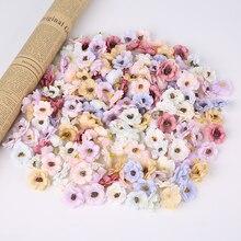 100 Pcs 3Cm Small Daisy Flower Head Mini Silk Artificial Flowers  Home Wedding Decor Diy Christmas Headdress Fake Flowers Decor