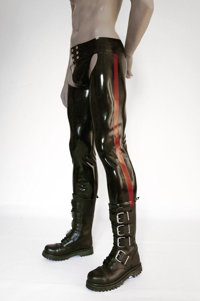 Латексные облегающие мужские сексуальные латексные резиновые штаны длинные брюки мужские сексуальные латексные штаны (без трусов) - 2