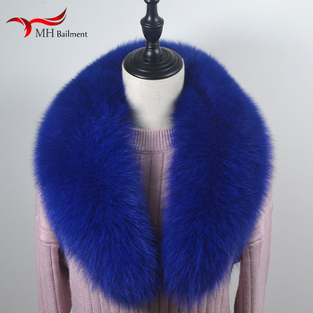 Real fox fur collar men and women winter new raccoon fur scarf ladies shawl hot sale luxury brand plus size coat collar image