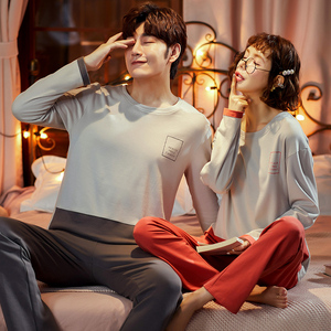 Image 2 - Pajama Sets Couples 2020 New Spring Clothes For Women Long Sleeve Tops & Solid Pants Men Pajamas Pure Cotton Suit3XL Nightwear
