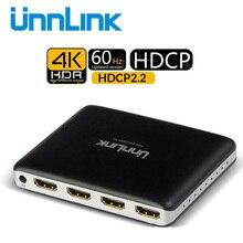 Unnlinkスイッチャーhdmi互換2.0スプリッタ3X1スイッチuhd 4 18k 60 60hz 10Bit hdr hdcp 2.2 3D 3で1アウトir xbox PS4Proテレビ