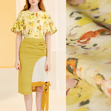 142CM Wide 110G/M Yellow Floral Print Tencel Ramie Summer Spring Pants Dress Shirt Blouse Jacket Fabric E1290(China)