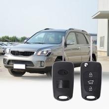 Car-Styling 3 Button Flip Remote Key Fob Case Shell for KIA Rondo Sportage Soul Rio Car Automobiles