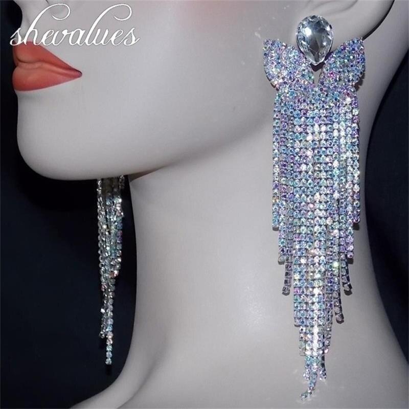 SHEVALUES Luxury Shining Crystal Diamante Long Tassel Earrings Big Drop Dangle Wedding Bridal Big Earrings Women Jewelry Party