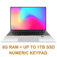 15.6 inch 8G RAM 128G/256G/512G M.2 SSD Laptop Notebook Computer Intel J3160 QUAD CORE Windows 10 OS Ultrabook HDMI 5G WIFI
