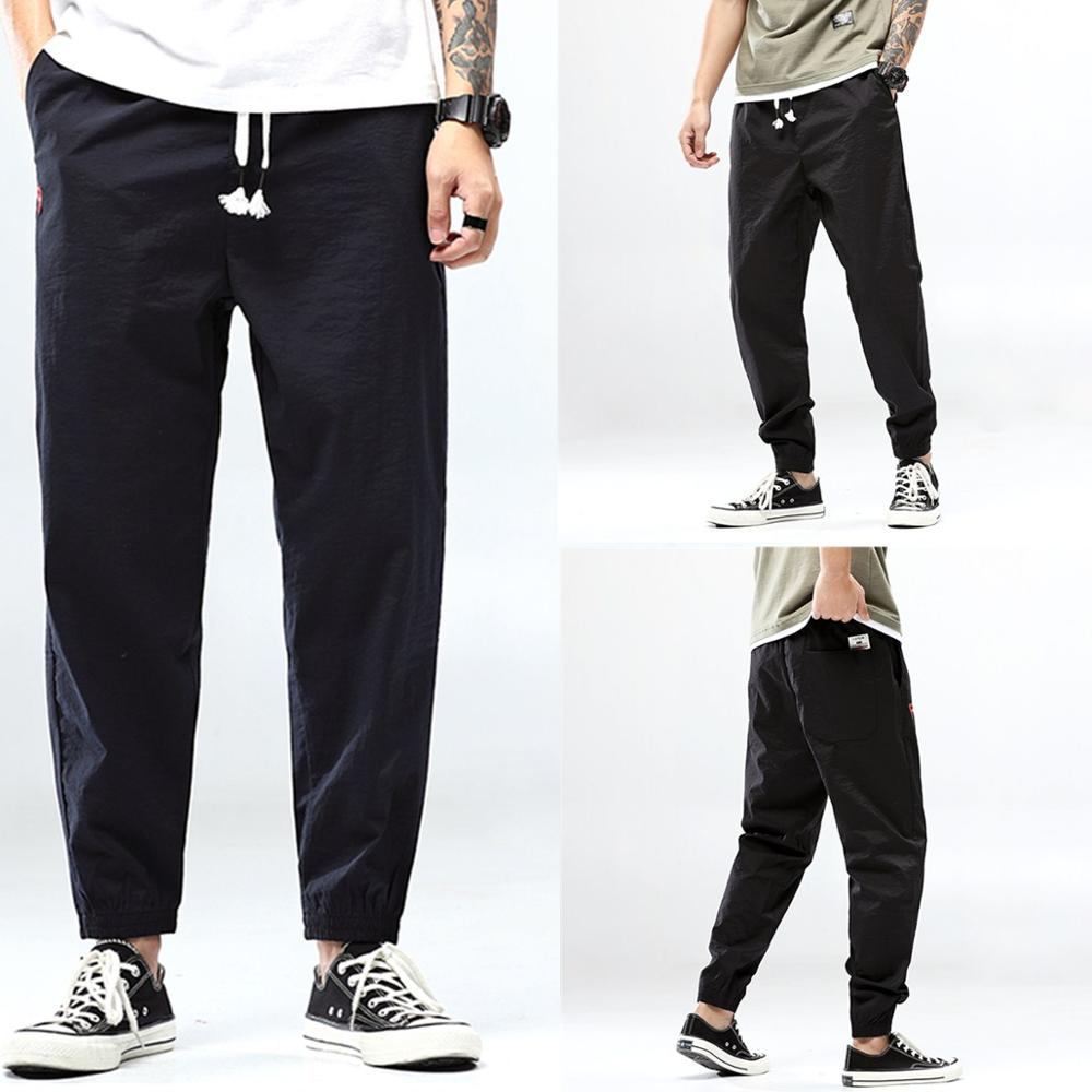 Summer New Style Mid-Waist Straps Korean teenagers Cotton Little Feet Elastic Pants Casual Style Jogging Harem Pants Pencil pant