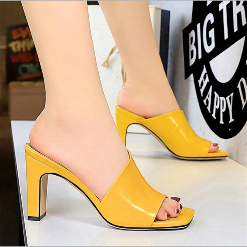 2020 Women Mules Yellow Slides Female Thick Block Heels Silver Slippers Sexy Summer 8.5cm High Heels Luxury Peep Toe Black Shoes