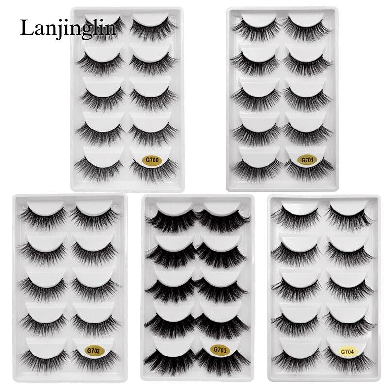 LANJINGLIN 5 pares tira vison cílios 3d volume longo cílios postiços maquiagem grosso cílios falsos cílios vison extensão # g7