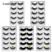 LANJINGLIN 5 pairs strip mink lashes 3d long false eyelashes makeup thick fake eye volume extension #G7
