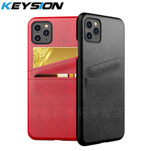 KEYSION PU Leather Phone Case for IPhone 2019 11 Pro Max Case with Wallet Card Slots Back Cover for IPhone 11 XS Max 8 7 6s Plus protective pu leather case cover w card slots strap for iphone 5c purple