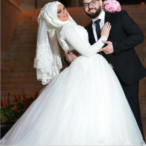 Vintage Lace Muslim Wedding Dress High Neck With Train Long Sleeve Long Bride Wedding Gowns Dubai Women Vestidos De Noivas