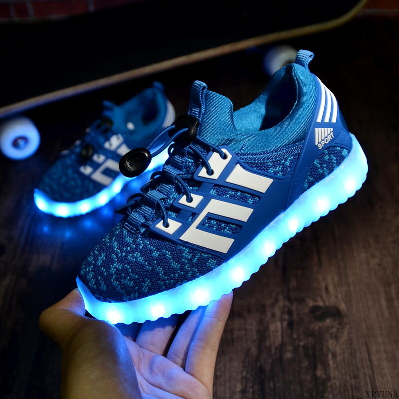 2020 New Kids USB Luminous Sneakers Glowing Children Lights Up Shoes With Led Slippers Girls Illuminated Krasovki Footwear Boys 5