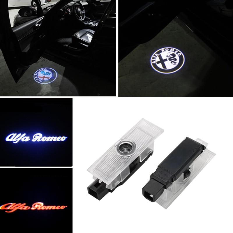 2pcs LED Car Door Welcome Lamp Ghost Shadow Light Logo Projector For Alfa Romeo 147 156 159 2004 Giulia Giulietta Mito Stelvio