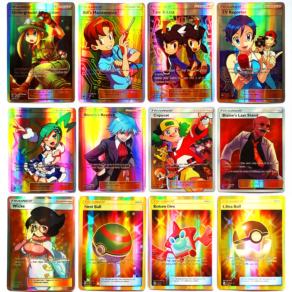 TAKARA TOMY Shining POKEMON Cards Collections MEGA GX EX Energy Trainer 100pcs 60pcs Toys Children Energy Battle Game Flash Card